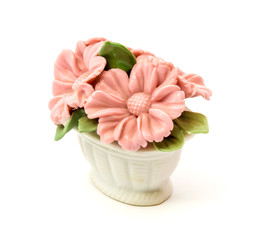 Porcelain figurine baskets of flowers for the decoration of interiors
