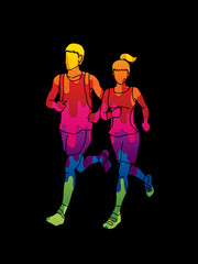 Man and woman running together, marathon runner designed using melting colors graphic vector