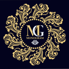 Decorative floral pattern. Gold graceful frame. Heraldic symbols. Monogram initials and exclusive calligraphic design elements. Vector business sign, identity for hotel, restaurant, jewelry, fashion.