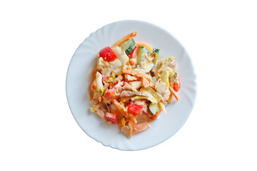 Salad of smoked salmon with vegetables in sesame sauce. isolated on white