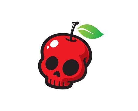 Apple Skull Logo Template Design Vector, Emblem, Design Concept, Creative Symbol, Icon