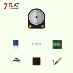 Flat Icon Device Set Of Unit, Hdd, Cpu And Other Vector Objects. Also Includes Motherboard, Unit, Memory Elements.
