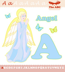 Letter A with Lovely Angel for ABC book