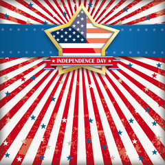 Independence Day Retro Banner Golden Star