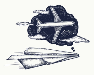 Dream tattoo and t-shirt design. Paper plane dreams to become the big plane. Symbol imagination, dream, motivation, creative art tattoo. Follow Dreams concept