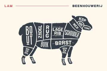 Meat cuts. Poster Butcher diagram and scheme - Lamb. Vintage hand-drawn black and white typographic with text on Dutch. Diagrams for butcher shop, design for restaurant or cafe. Vector Illustration