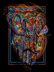 Color elephant t-shirt design modern art element for design, poster, gift cards, flyers, brochures template. Creative art elephant and color splashes symbol meditation, wild nature, holi festival
