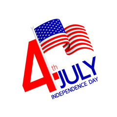 Happy USA Independence Day 4 th of July. Logo, Greeting card and poster Design. Illustration isolated on white background.