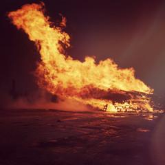 Bonfire with big flames