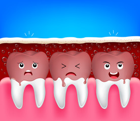 teeth problem of aerated soft drink. Cute cartoon tooth characters, funny illustration. Dental care concept.