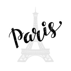 Paris trendy card design with hand drawn lettering,