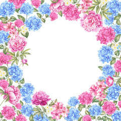 Frame of color flowers.