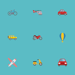 Flat Icons Bicycle, Car, Automobile And Other Vector Elements. Set Of Vehicle Flat Icons Symbols Also Includes Helicopter, Moped, Bike Objects.