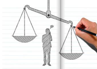 ノートに描いた秤と考える人のシルエット