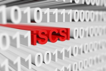 iSCSI as a binary code with blurred background 3D illustration