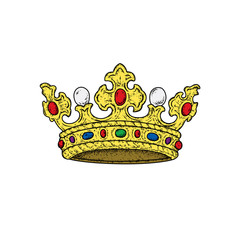 Beautiful royal crown. Vector illustration for a postcard or a poster, print for clothes. Fashion & Style. Vintage, retro.