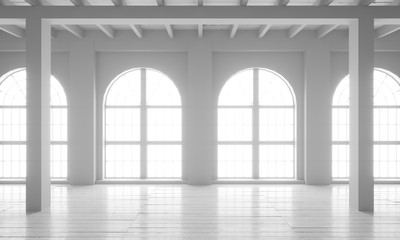 Empty room with big windows, parquet floors and rough walls. Mock up template for office or studio.