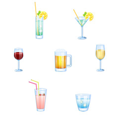Alcoholic drinks and non alcoholic drinks with glasses isolated.