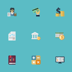 Flat Icons Bookkeeper, Card, Deadline And Other Vector Elements. Set Of Recording Flat Icons Symbols Also Includes Math, Dollar, Accounting Objects.