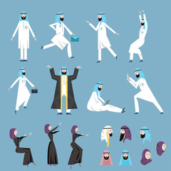 The Arab people, men and women in the arabian national dress in various poses. Vector illustration set, isolated on blue background.
