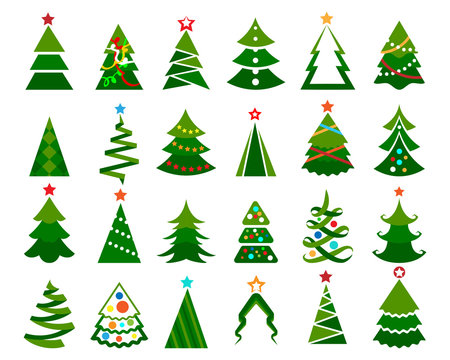 Christmas tree vector set. Cartoon colored illustration of happy christma trees with balls isolated on white background