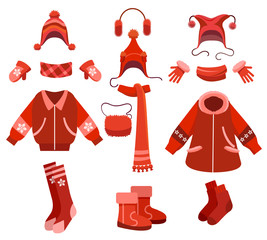 Cartoon woman winter clothes and female cold weather accessories isolated on white. Knitting gloves and scarf, coat and fur boots, vector illustration