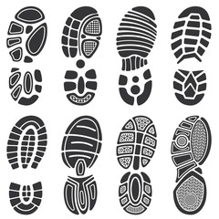 Running sport shoes vector footprint set