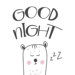 Good night hand drawn lettering cartoon illustration with cute white sleeping bear.