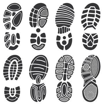 Running sport shoes vector footprint set