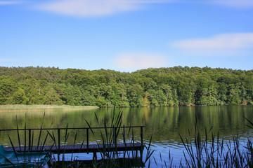 Waldsee, Steg, Blau, Himmel
