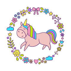 Cute unicorn with floral wreath. Cartoon character. Vector illustration