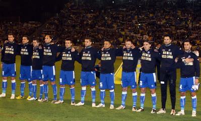 Bosnia & Herzegovina lineup during the national anthem