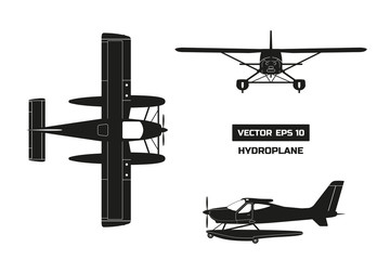 Black silhouette of plane on white background. Cargo aircraft. Industrial drawing of hydroplane. Top, front and side view