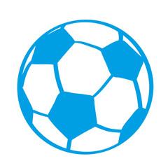 Handgezeichneter Fußball in blau