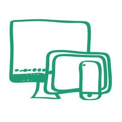 Handgezeichnetes Bildschirme-Icon in grün