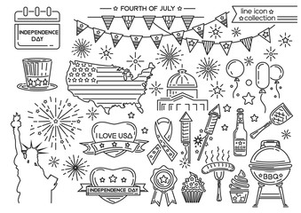 Line icon set for United Stated Independence Day. Fourth of July. Vector illustration