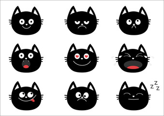 Cute black cat set. Emotion collection. Happy, surprised, crying, sad, angry, smiling. Funny cartoon characters. White background. Isolated. Flat design