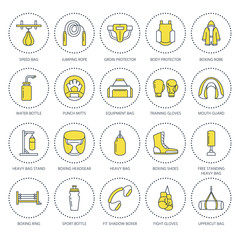 Boxing vector line icons. Punchbag, boxer gloves, ring, heavy bags, punching mitts. Sport training signs set, box championship pictogram for club, equipment store.