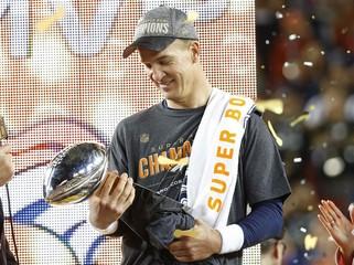 File photo of Denver Broncos' quarterback Peyton Manning holding the Vince Lombardi Trophy after the NFL's Super Bowl 50 football game in Santa Clara