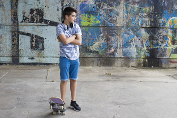child with skateboarding in the city