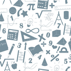 Seamless background with formulas and charts on the topic of mathematics and education, a grey silhouettes of icons on the light background