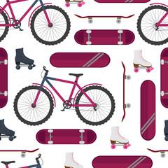 Skate, bike, roller skates. Street sport. Seamless pattern. Vector illustration.