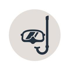 Icono plano gafas buzo y snorkel en circulo gris