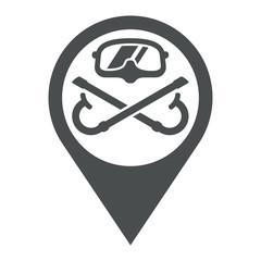 Icono plano localizacion gafas buzo y snorkels cruzados gris