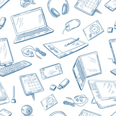 Different computer devices in hand drawn style. Vector seamless pattern