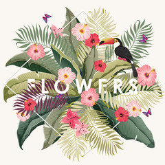 Vector illustration of a tropical frame with flowers in summer for Wedding, anniversary, birthday and party. Design for banner, poster, card, invitation and scrapbook