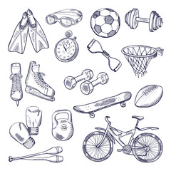 Vector doodle set of sport equipment. Hand drawn illustrations isolate on white background