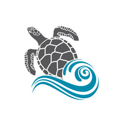 sea turtle icon with water wave