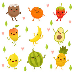 Funny emotion on cartoon fruits and vegetables. Vector illustration set