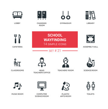 School wayfinding - modern simple icons, pictograms set